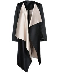 Roland Mouret Studhan Draped Satin Open-front Coat With Contrast Lining - Black