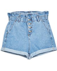 TOPSHOP Petite Paperbag Denim Shorts - Blue