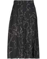 Carven - Floral Black Midi Skirt - Lyst