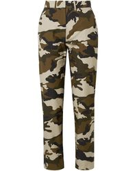House of Holland Camouflage-print Cotton-canvas Straight-leg Trousers - Green
