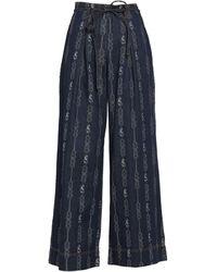 Tory Burch Denim Trousers - Blue