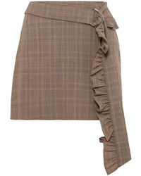 Maggie Marilyn Belted Ruffle-trimmed Checked Wool Mini Skirt Light Brown