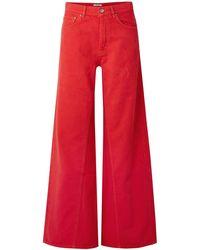 Ganni Denim Trousers - Red