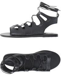 Ancient Greek Sandals Sandalias - Negro