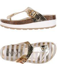 CafeNoir Toe Strap Sandal - Metallic