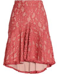 Alexis Knee Length Skirt - Red
