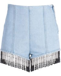 MSGM - Denim Shorts With Beaded Fringes - Lyst