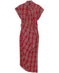 A.W.A.K.E. MODE Draped Checked Cotton-flannel Midi Dress Red