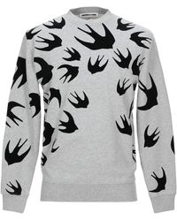 McQ Large Swallow Flocked Crew Sweat - Grey