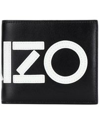 KENZO Bifold Leather Wallet With Logo - Black