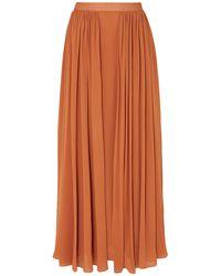 Max Mara Pleated Jersey Maxi Skirt - Orange