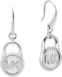 Michael Kors - Logo Lock Earring Silver - Lyst
