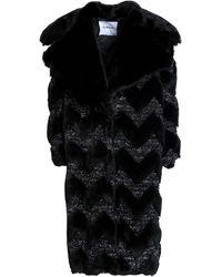 Ainea Metallic Bouclé-trimmed Faux Fur Coat Black
