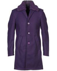 Grey Daniele Alessandrini Coat - Purple