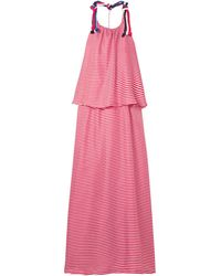 Paper London Amalfi Rope-trimmed Striped Silk-twill Maxi Dress - Red