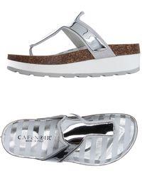 CafeNoir Toe Strap Sandals - Metallic
