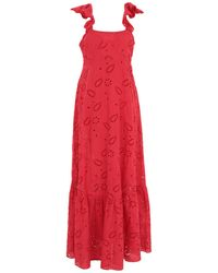 Liu Jo Open Embroidery Square Neck Gown - Red