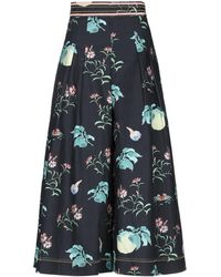 Peter Pilotto Pleated Floral-print Cotton-poplin Culottes Black