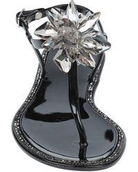 CafeNoir Toe Strap Sandals - Black
