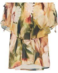 Haute Hippie Off-the-shoulder Layered Floral-print Crepe De Chine Blouse Pastel Yellow