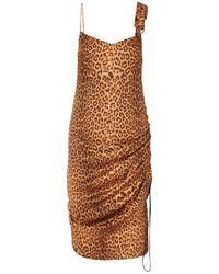 Commission Purse Pull Ruched Leopard-print Satin-twill Dress - Brown