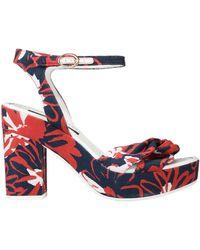 Blue Les Copains Sandals - Red