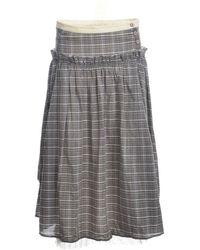 Renli Su Frances Soft Check Skirt - Gray