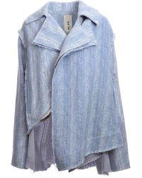 WEN PAN Azure Blue Sleeve Asymmetric Jacket