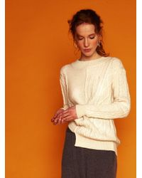 J.won - Contrast Cable Ivory Cashmere Jumper - Lyst