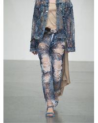 Faustine Steinmetz - Yarn Painted Transparent Denim Jeans - Last Pair - Lyst