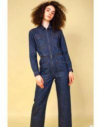 L.F.Markey Danny Longsleeve Boilersuit. Indigo Denim - Blue