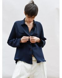 Charlie May - Navy Silk Shirt With Buttons - Lyst