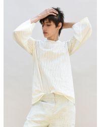 Charlie May - Asymmetric Neck Cream Striped Shirt - Lyst