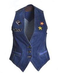 Rockins Customised Waistcoat In Dark Indigo - Blue