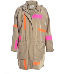 Folk - Long Parka In Stone With Colour Accents - Lyst