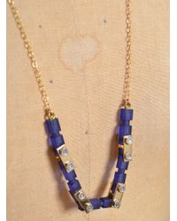 Lily Kamper Navy Frosted Gold Mechanic Necklace - Blue