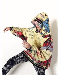 Simeon Farrar Oversized Hoodie. Digital Panther Patchwork. - Gray