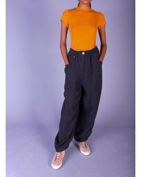 L.F.Markey Fat Boys Linen Trousers. Navy - Blue