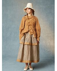 Renli Su Zadie Layered Skirt. Striped Taupe. - Multicolour
