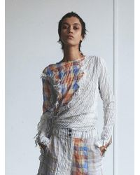 WEN PAN The Side Knotted Top - Multicolour