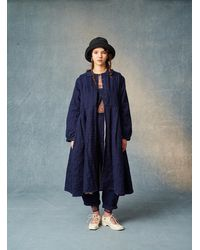 Renli Su Frankie Indigo Cotton/linen/silk Coat - Blue
