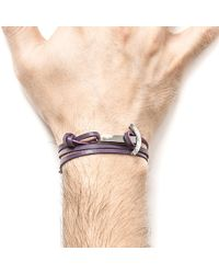 Anchor & Crew - Grape Purple Clipper Silver And Leather Bracelet - Lyst