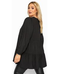 Yours Clothing Black Tiered Smock Blouse