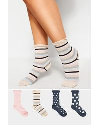 Yours Clothing 4 Pack Navy Assorted Spot & Stripe Socks - Blue