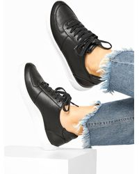 Yours Clothing Black Vegan Leather Lace Up Trainers In Extra Wide Fit