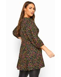 Yours Clothing Black Floral Smock Blouse