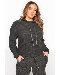 Yours Clothing Grey Marl Beaded Drawcord Hoodie