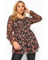 Yours Clothing Black & Red Floral Dobby Shirred Blouse