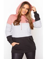 Yours Clothing Pink Colourblock Butterfly Hoodie - Multicolour