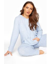 Yours Clothing Light Blue Marl Soft Hooded Co-ord Lounge Hoodie